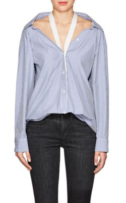 T By Alexander Wang Canvas-Trimmed Striped Cotton-Poplin Shirt In Blue