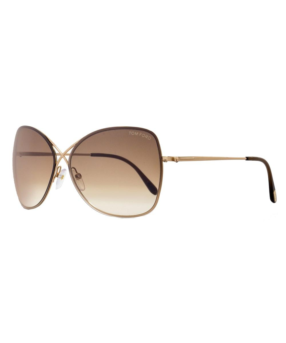 d2898b95477 Tom Ford Butterfly Sunglasses Tf319 Solange 28F Brown Gold Havana Ft0319 In  Rose Gold