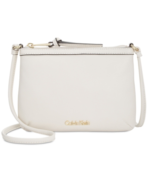 Calvin Klein Carrie Pebble Leather Crossbody In White