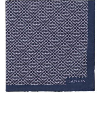 Lanvin Geometric-Bug-Print Silk Pocket Square - Purple