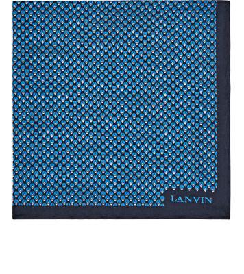 Lanvin Geometric-Bug-Print Silk Pocket Square - Blue