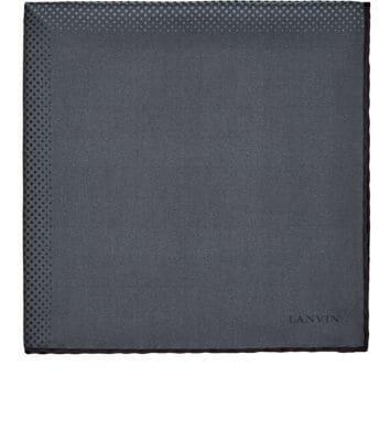 Lanvin Four-Block Silk Twill Pocket Square - Gray