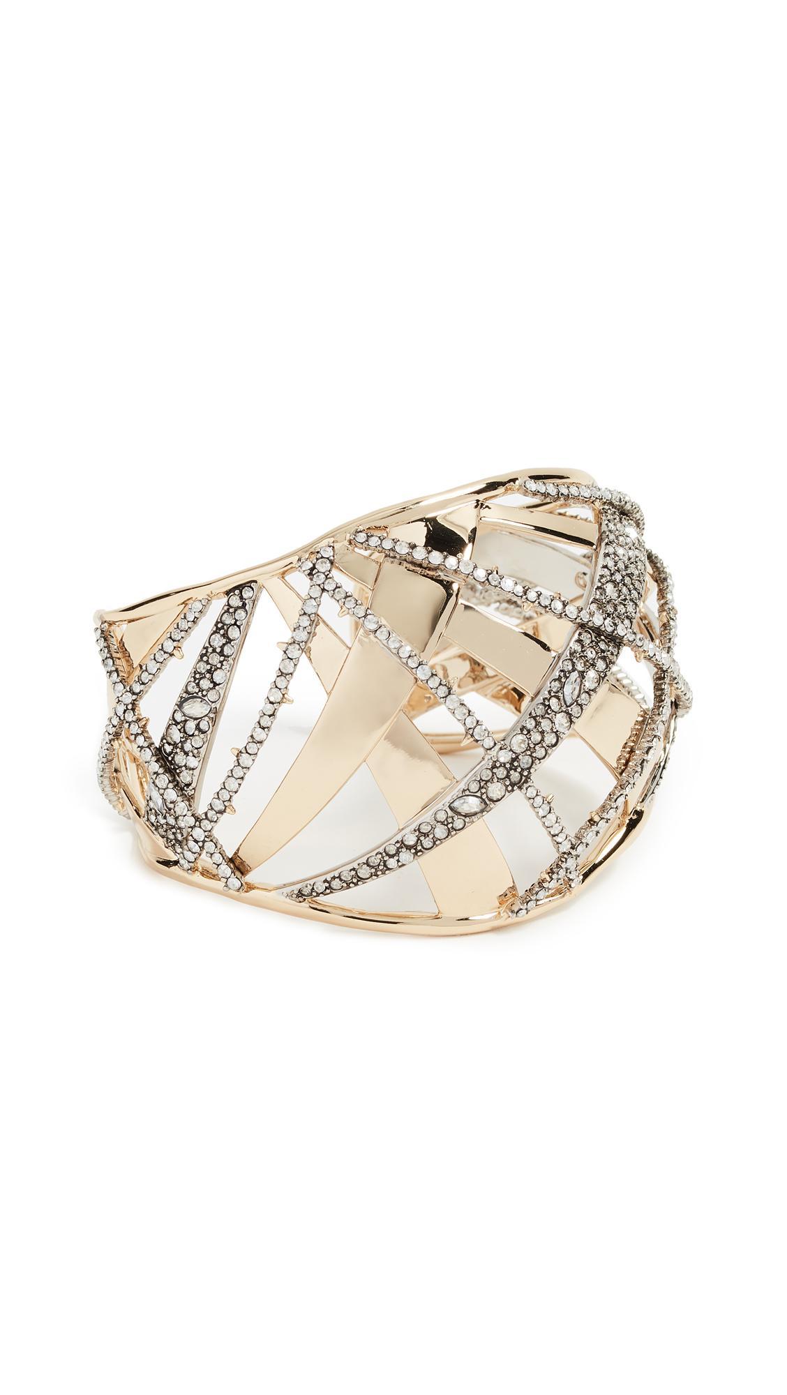 Alexis Bittar Crystal Encrusted Medium Plaid Cuff In Gold/Rhodium