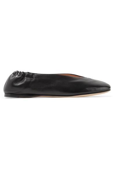 8705174694f3 Acne Studios Oddry Elasticated-Heel Leather Ballet Flats In Black ...
