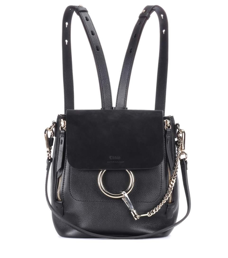 45898431f25b 9 height x 8 width x 5 depth (approximately). 9 strap drop (approximately).  Available in Black. Made in Italy. Chloé Women s Faye Small Leather  Backpack ...
