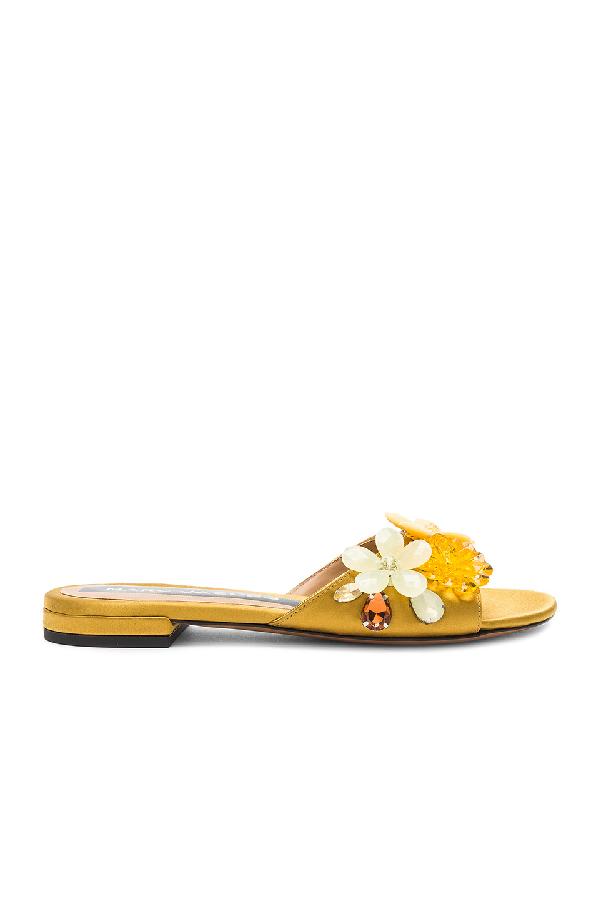 Marc Jacobs Clara Embellished Satin Sandals In Metallic Gold