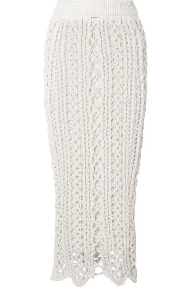 Balmain Crochet-knit Stretch-cotton Midi Skirt
