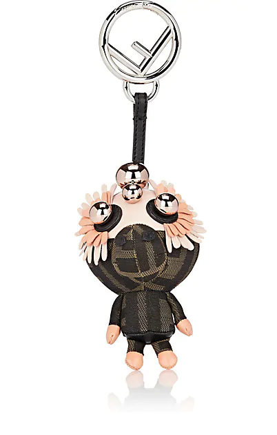 Fendi Space Monkey Napa Bag Charm In Black
