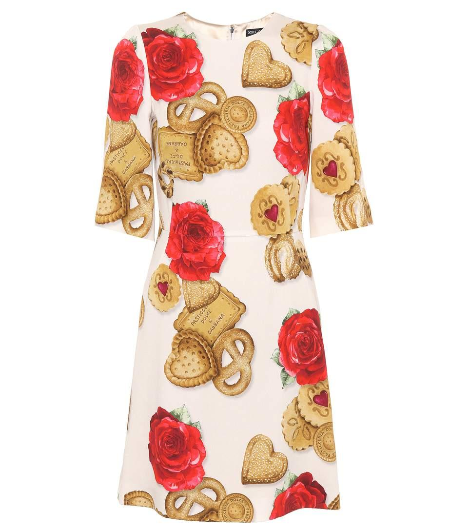 Dolce & Gabbana Printed Cady Dress In Multicolor