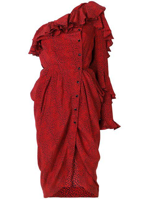 Philosophy Di Lorenzo Serafini Printed Silk One-Shoulder Dress In 1111