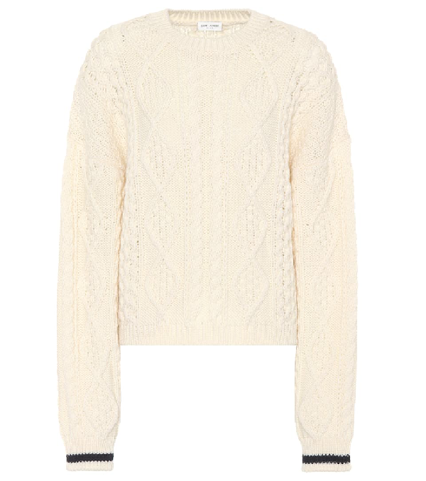 Saint Laurent Cable-knit Wool Sweater In Ivory