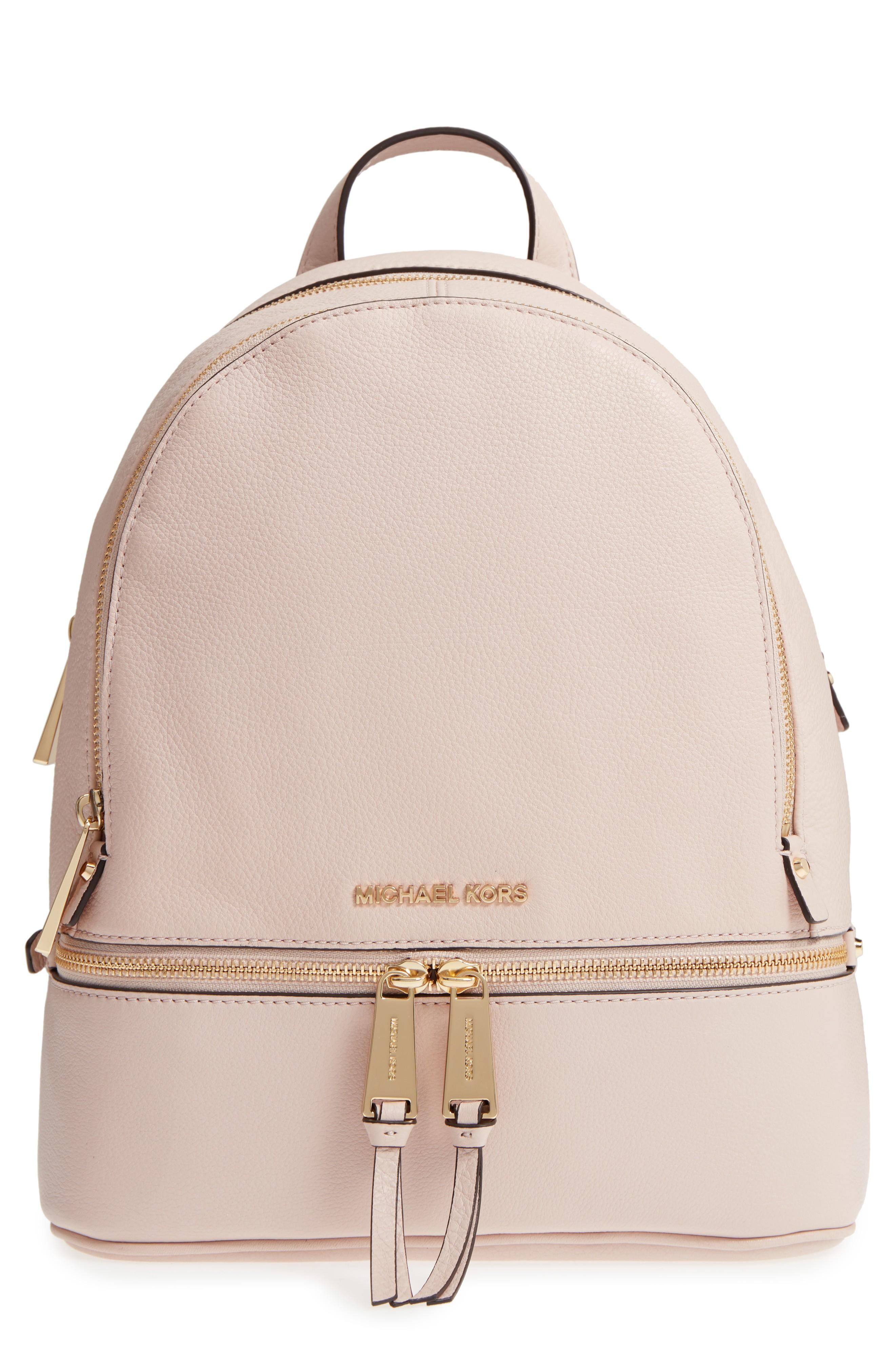 ea8c422acc2fd2 Michael Michael Kors 'Extra Small Rhea Zip' Leather Backpack - Pink In Soft  Pink