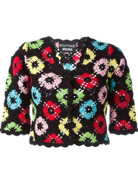Boutique Moschino Crochet Cropped Cardigan - Black