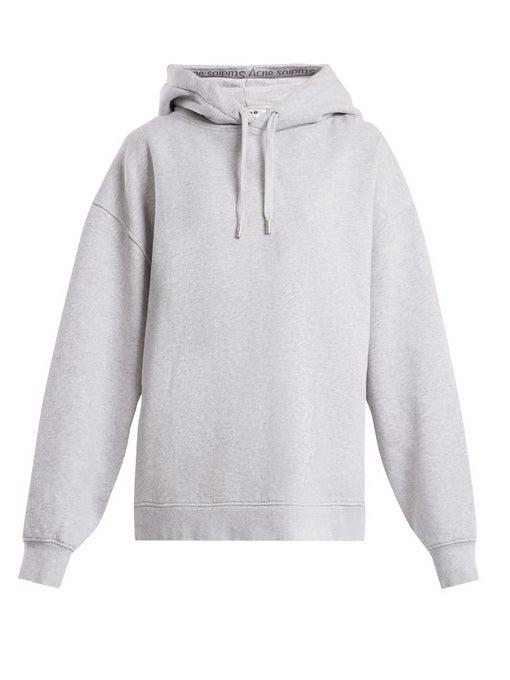 2574f1990d51 Acne Studios Yala As Hooded Logo Rib Sweatshirt In Grey In Light Gray