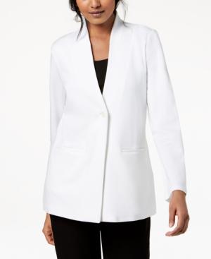 Eileen Fisher Tencel Ponte Long-sleeve Stand-collar Blazer, Regular & Petite In White