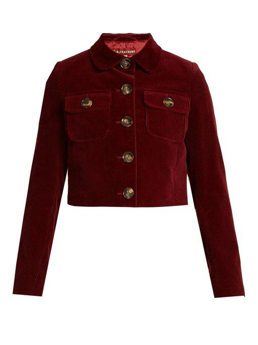 Alexa Chung Cropped Cotton-Corduroy Jacket In Burgundy-Red