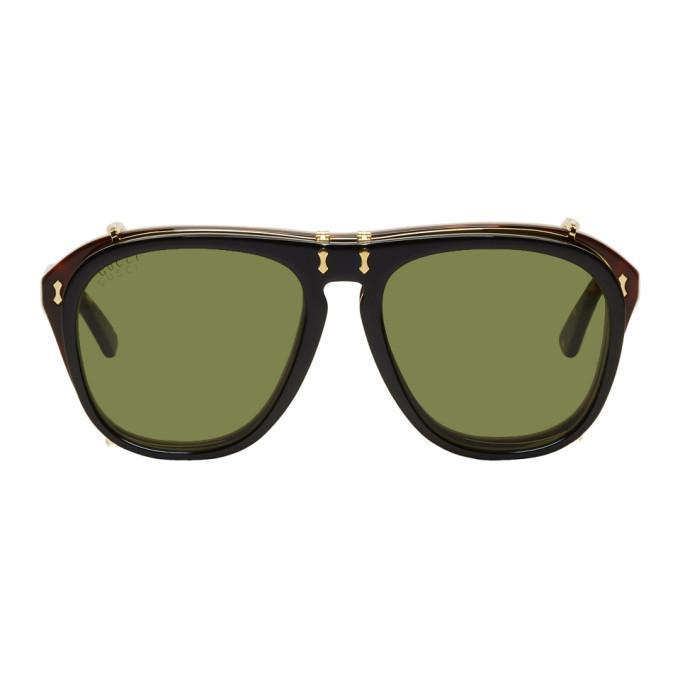 ae6c93adb6 Gucci Tortoiseshell And Black Clip-On Aviator Sunglasses In 006 Havan