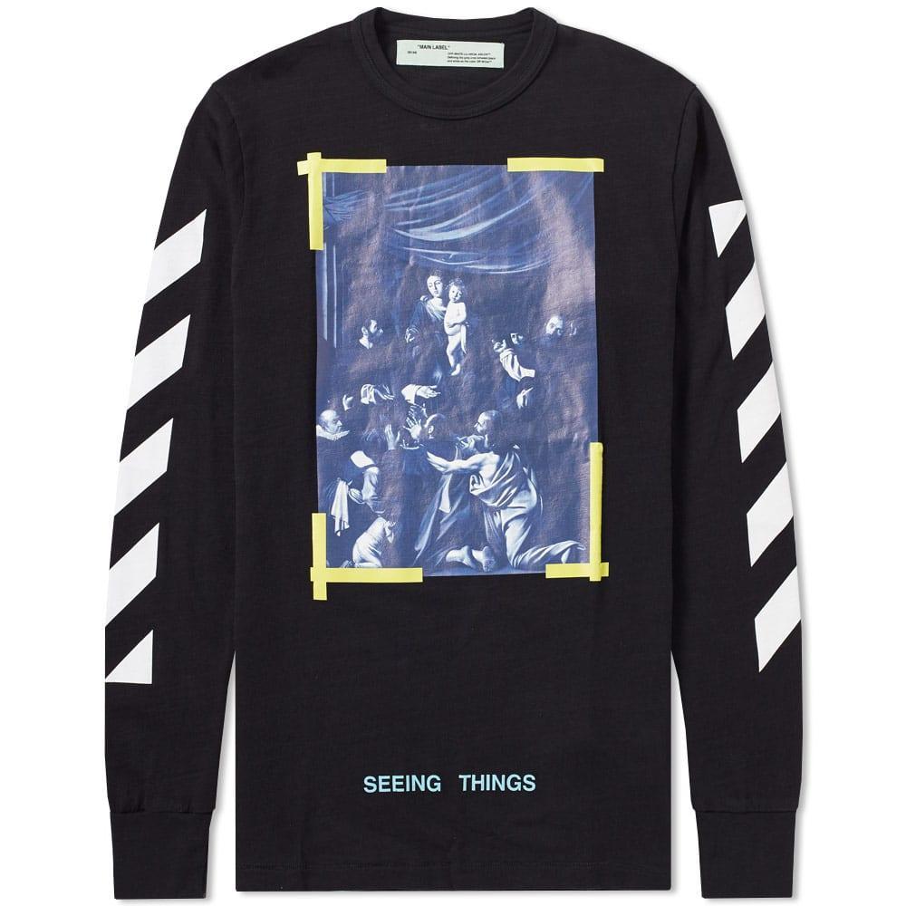 533fb1fed Off-White Diagonal Caravaggio Long Sleeve Tee In Black   ModeSens
