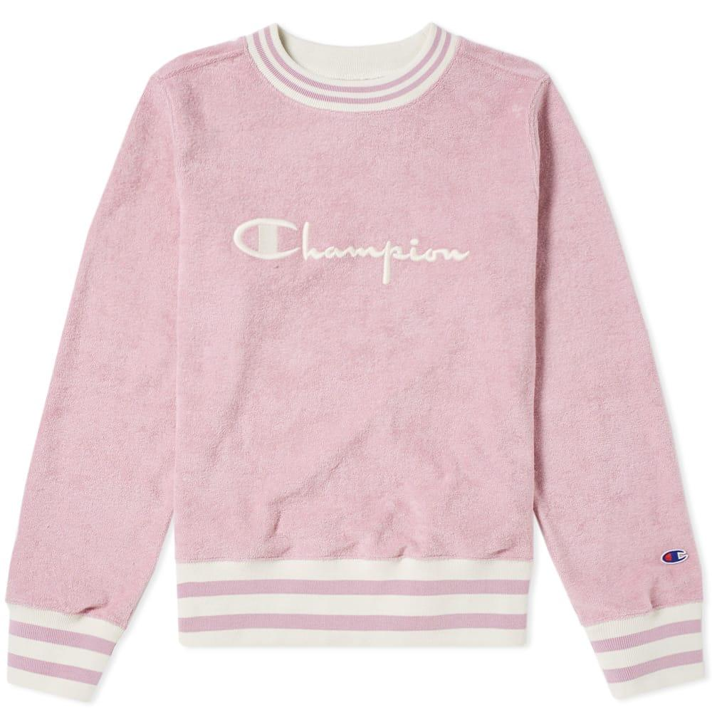 46355bede5a4 Champion Logo-Embroidered Cotton-Blend Towelling Sweatshirt In Pink ...