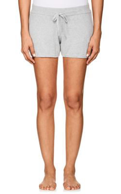 Skin Vic Heathered Cotton-Blend Shorts In Htr - Heather Grey