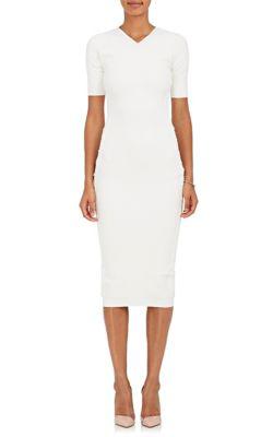 Victoria Beckham Crepe-Knit Fitted Dress - Vanilla