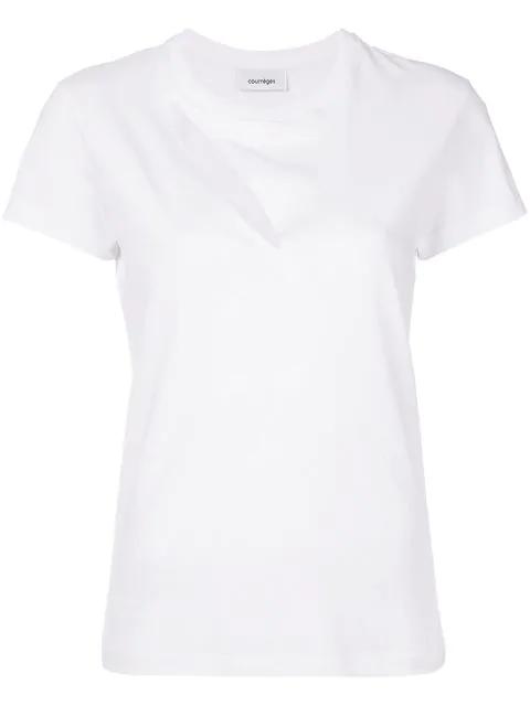 CourrÈGes White Diagonal Cutting T-Shirt