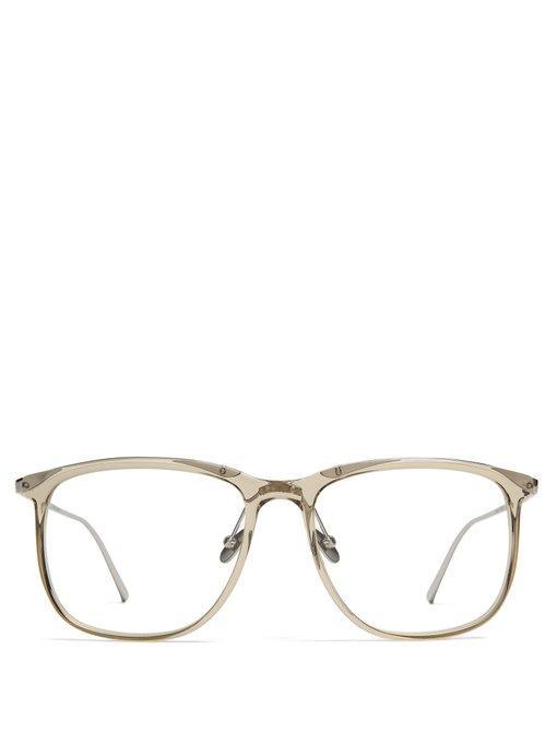 659006b89d87 Linda Farrow Square-Frame Acetate Glasses In Light Grey