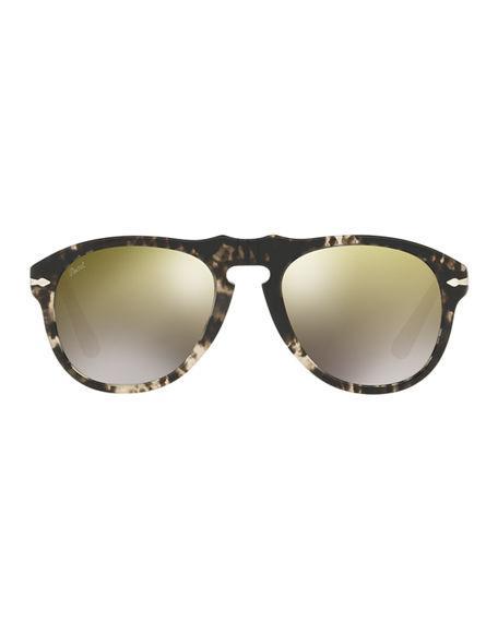 c09979ad1ba21 Persol 649-Series Mirrored Aviator Sunglasses In Tortoise Frames Gold Lenses