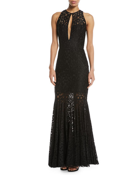 Milly Joan Sleeveless Lace Gown In Black