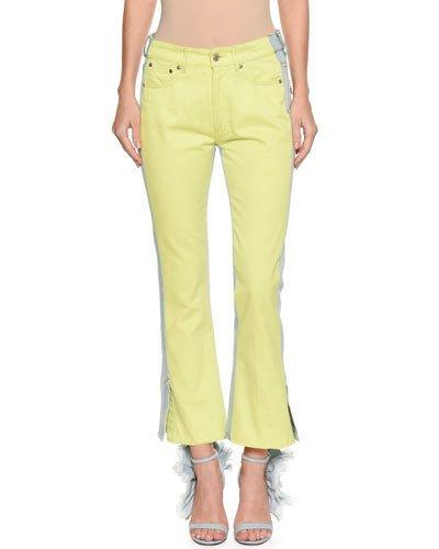 Msgm Two-tone Flared-leg Cropped Jeans In Blue/yellow