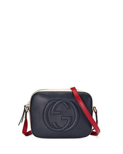f61def5c7ed Gucci Soho Disco Color-Block Textured-Leather Shoulder Bag In Navy White