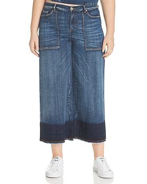 492387faa8 Marina Rinaldi X Ashley Graham Idioma Wide-Leg Fringed-Hem Jeans In Ski Blue