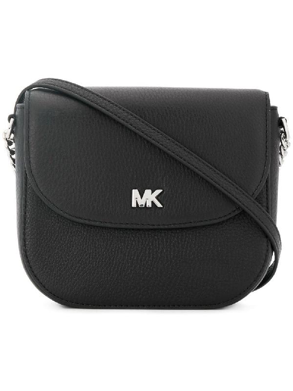 9eba0279381f Michael Michael Kors Half-Dome Leather Crossbody Bag - Silver Hardware In  Black
