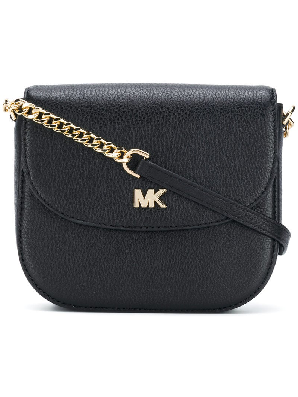 274367466aac Michael Michael Kors Half-Dome Leather Crossbody Bag - Silver Hardware In  Black
