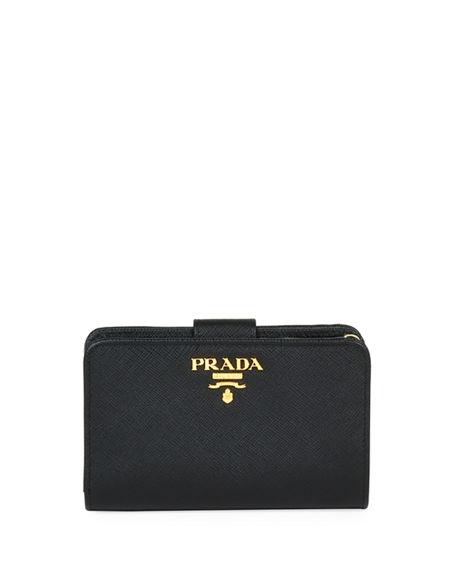 Prada Saffiano Triangle Bi-Fold Tab Wallet In Black