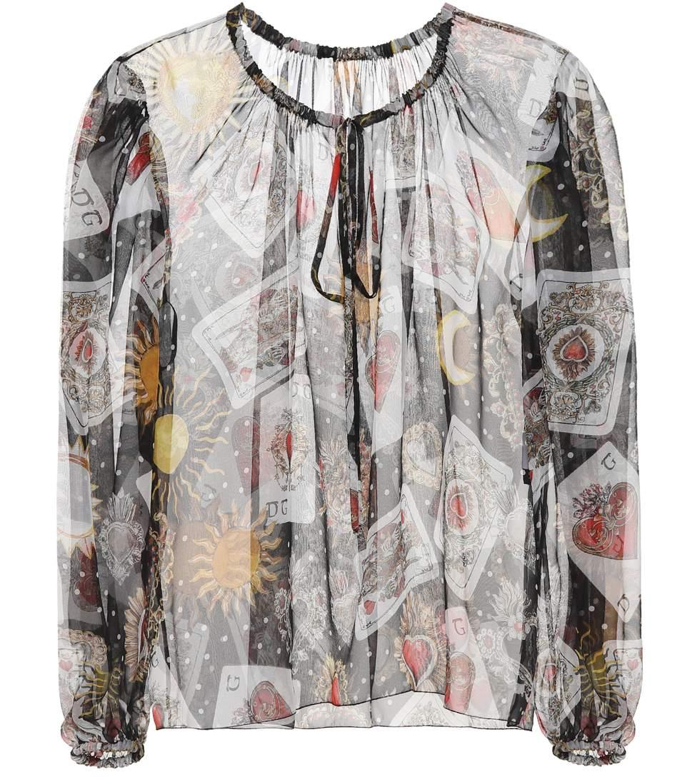 Dolce & Gabbana Printed Silk Top In Black