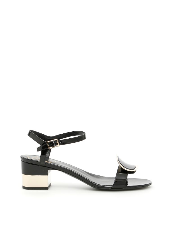 9e94eac5bda Roger Vivier Chips West Buckle Leather Sandals In 黑色