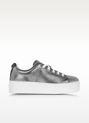 Kenzo K-lace Metallic Leather Flatform Trainers In Silver