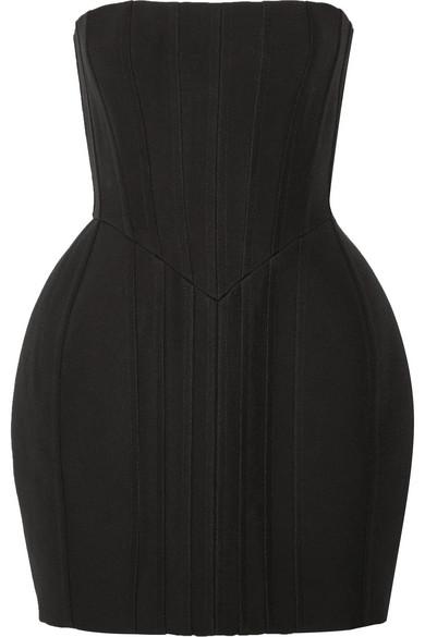 Balmain Woman Strapless Pintucked Crepe Mini Dress Black
