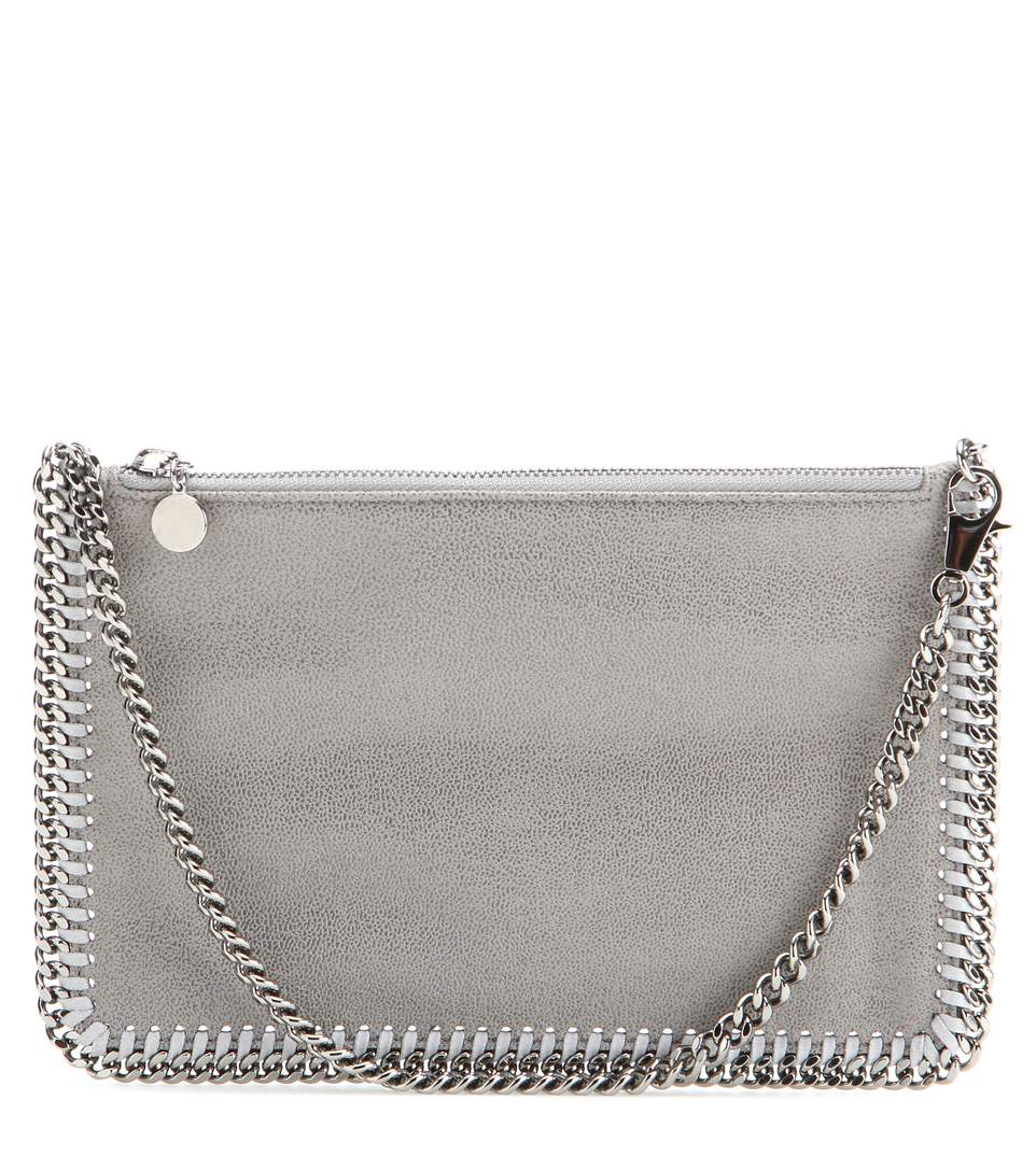 Stella Mccartney Faux Suede Shoulder Bag In Light Grey