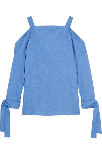 Tibi Cutout Stretch-cotton Chambray Top In Light Blue