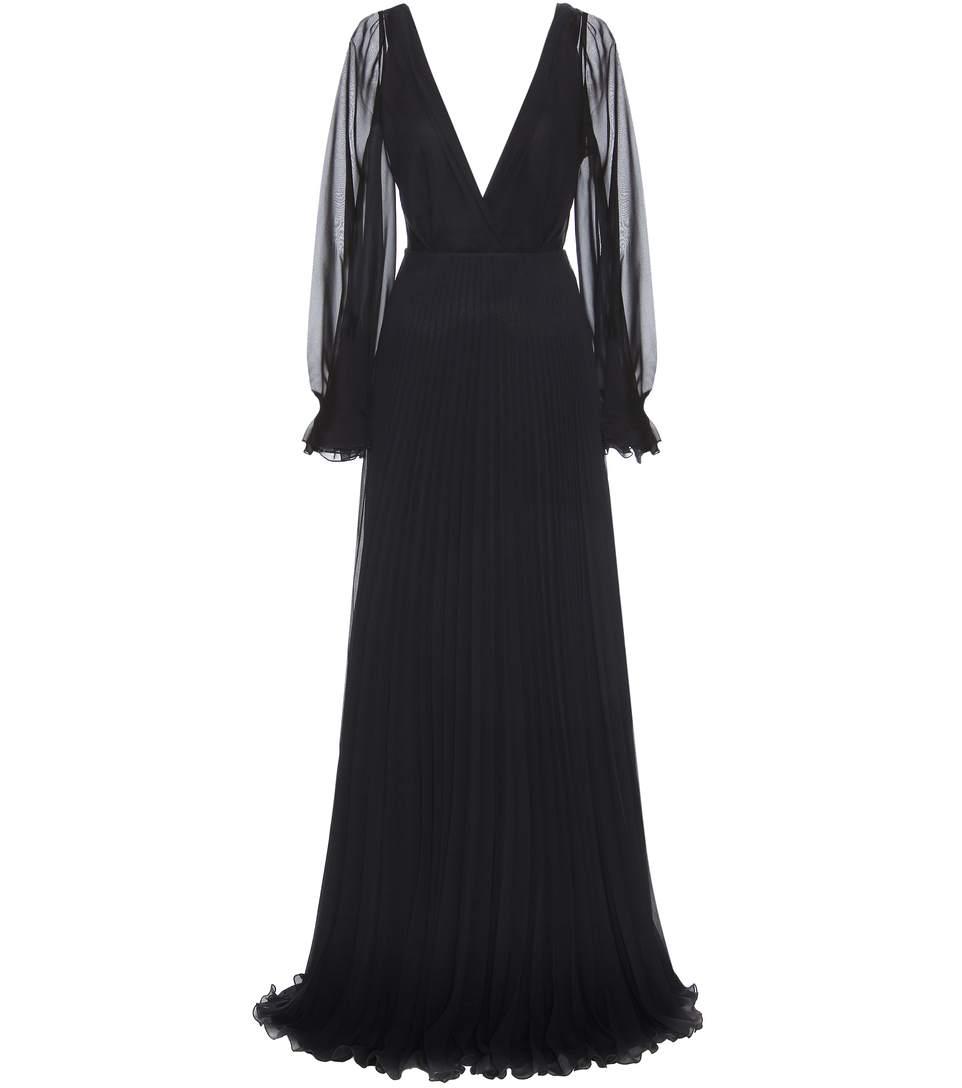 Victoria Beckham Pleated Silk Dress In Llack