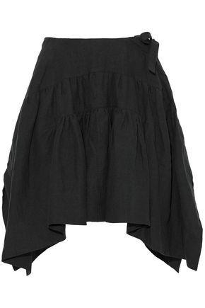 Jw Anderson Woman Pleated Linen Mini Skirt Black