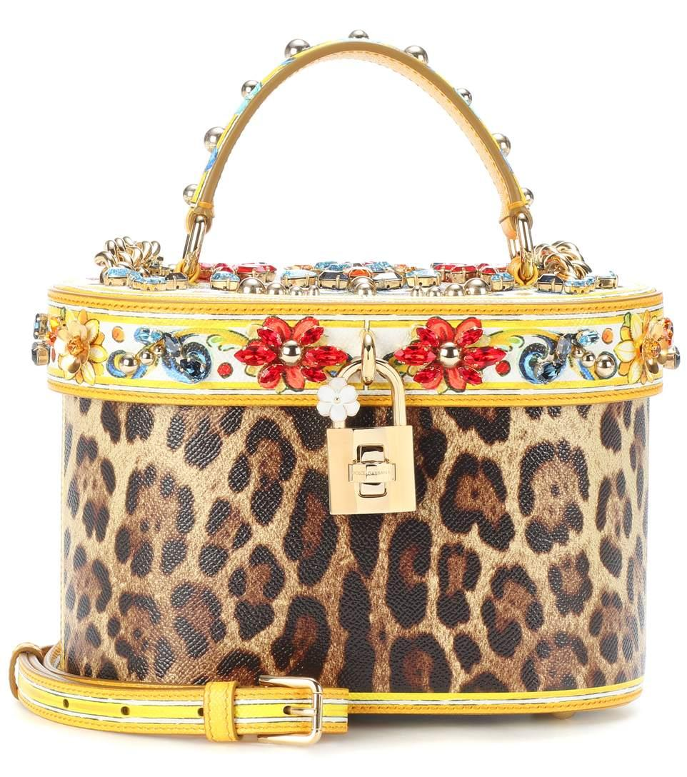 Dolce & Gabbana Printed Leather Bucket Bag In Multicoloured