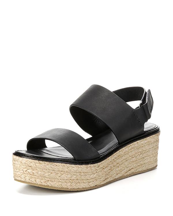 Vince Women's Janet Leather Platform Wedge Sandals In Black