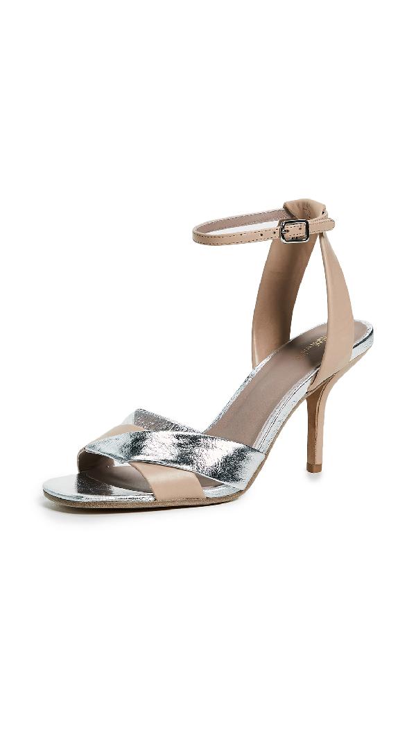 7460471a5d5 Diane Von Furstenberg Fiona Matte Metallic Leather Ankle-Strap Sandal In  Cappuccino Silver