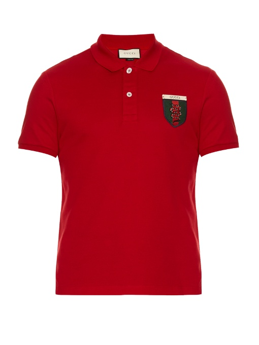 39f8c472 Gucci Snake-Crest Cotton-Blend Polo Shirt In Red   ModeSens