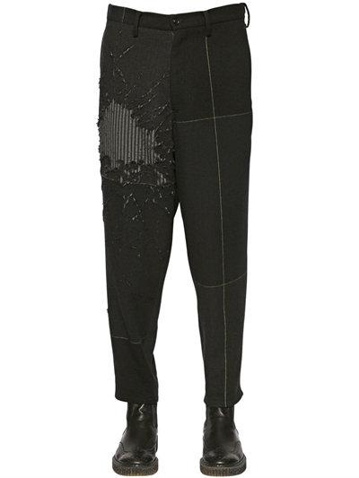 Yohji Yamamoto Destroyed Wool Pants With Gauze Layer, Black