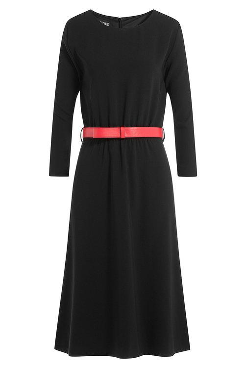Boutique Moschino Belted Crepe Dress In Black