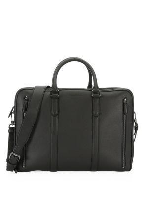 Ermenegildo Zegna Large Leather Briefcase In Black